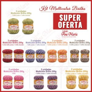 Barbante Barroco Multicolor Brilho-kit 16un-
