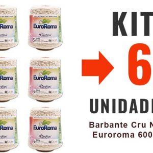 Barbante Cru Nº4 Euroroma 600g – Kit 6un -12x –